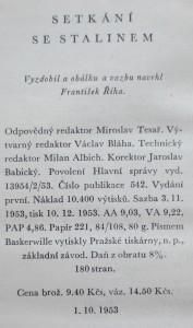 antikvární kniha Setkání se Stalinem, 1954