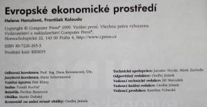 antikvární kniha Evropské ekonomické prostředí : regulace a harmonizace účetnictví, vnitropodnikové účetnictví, manažerské účetnictví, 1999