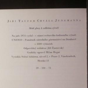 antikvární kniha Chvála Jungmanna. Malé glosy k velkému výročí, 1974