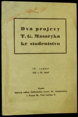 náhled knihy - Dva projevy T.G. Masaryka ke studentstvu