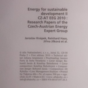 antikvární kniha Energy for sustainable development. 2. díl., 2010