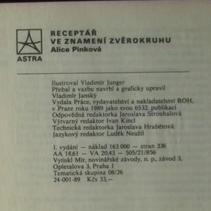 antikvární kniha Receptář ve znamení zvěrokruhu, aneb Sezónní kuchařka pro pokročilé, 1989
