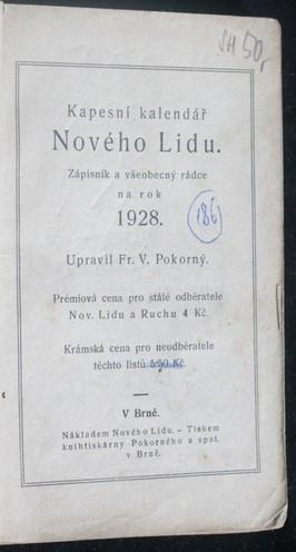 náhled knihy - Kapesní kalendář Nového lidu : zápisník a všeobecný rádce na rok 1928