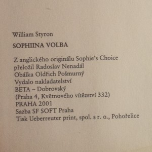 antikvární kniha Sophiina volba, 2001
