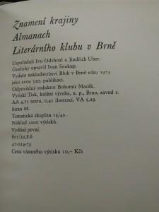 antikvární kniha Znamení krajiny - Almanach literárního klubu v Brně (Ocpl, 88 s.), 1973