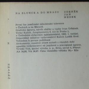 antikvární kniha Na slunce a do mrazu - první čas josefinské náboženské tolerance v Čechách a na Moravě, 1982