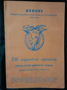náhled knihy - Zvěsti - 58. výroční zpráva tělocvičné jednoty Sokol Královské Vinohrady (Obr, 112 s.)