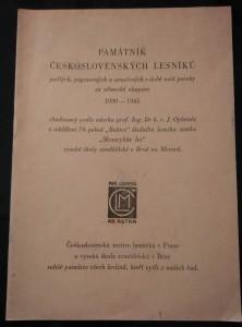 náhled knihy - Památník československých lesníků padlých, popravených a umučených v době naší poroby za německé okupace - 97 jmen