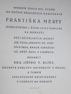 antikvární kniha Sborník na počest šedesátin Františka Merty : [1872-1932], 1932