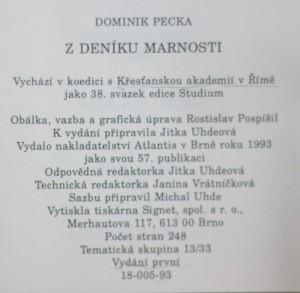 antikvární kniha Z deníku marnosti, 1993