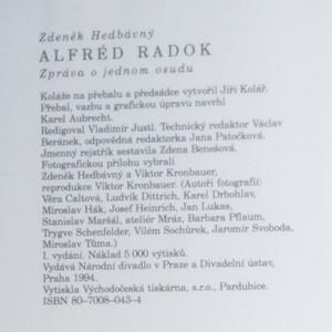 antikvární kniha Alfréd Radok. Zpráva o jednom osudu, 1994