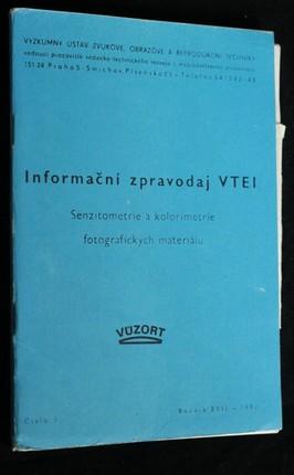 náhled knihy - Informační zpravodaj VTEI : Senzitometrie a kolorimetrie fotografických materiálu