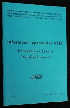 náhled knihy - Informační zpravodaj VTEI : Senzitometrie a kolorimetrie fotografických materiálů, č.1
