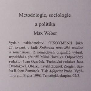 antikvární kniha Metodologie, sociologie a politika, 1998