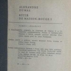 antikvární kniha Paměti lékařovi. Rytíř de Maison-Rouge. 1.-2. díl (2 svazky), 1973