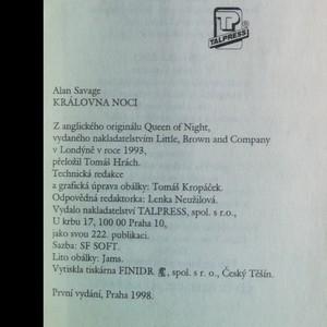 antikvární kniha Královna noci, 1998