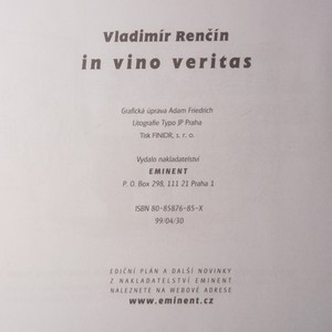 antikvární kniha Renčín. In vino veritas In vino veritas, 1999