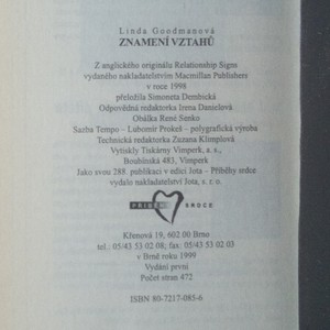 antikvární kniha Znamení vztahů, 1999