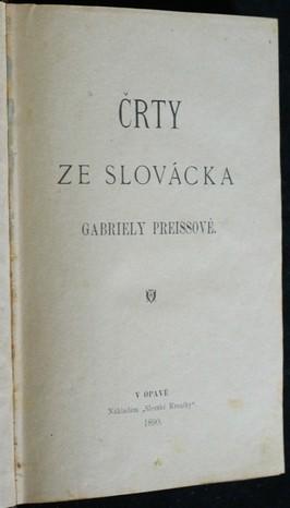 antikvární kniha Črty ze Slovácka Gabriely Preissové, 1890
