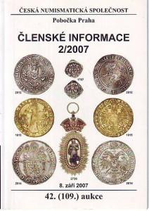 náhled knihy - Česká numismatická společnost. Členské informace 2/2007