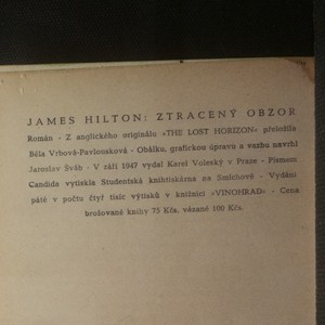antikvární kniha Ztracený obzor, 1947