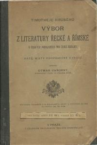 náhled knihy - Timotheje Hruhého Výbor z literatury řecké a římské v českých překladech pro české reálky