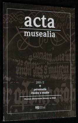náhled knihy - acta musealia 2001/2, personalia, články a studie