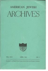 náhled knihy - American Jewish Archives Vol. XVII, April, 1965. No. 1