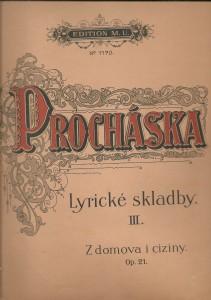 náhled knihy - F. Procháska. Lyrické skladby III. Z domova i ciziny Op. 21