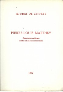 náhled knihy - Pierre-Louis Matthey. Approches critiques Textes et dokuments inédits