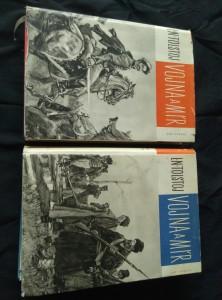 náhled knihy - Vojna a mír I, II (A4, Ocpl, 468 a 472 s., ob, vaz a typo V. Bláha)