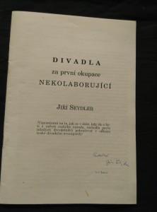 náhled knihy - Divadla za první okupace nekolaborující (Obr, 36 s., dedikace autora)