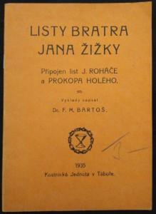 náhled knihy - Listy bratra Jana Žižky : Připojen list J. Roháče a Prokopa Holého