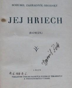 antikvární kniha Jej hriech , 1929