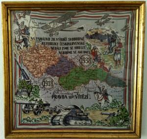 náhled knihy - Pravda vítězí! Zarámovaný šátek Na památku 20. výročí svobodné republiky československé. 1918 - 1938