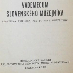 antikvární kniha Vademecum slovenského múzejníka , neuveden