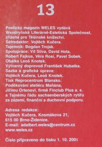 antikvární kniha Weles, vendryňský poetický magazín 13, neuveden
