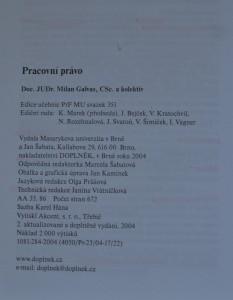 antikvární kniha Pracovní právo, 2004