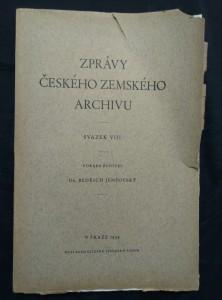 náhled knihy - Zprávy českého zemského archivu VIII (Obr, 296 s.)
