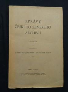 náhled knihy - Zprávy českého zemského archivu IX (Obr, 408 s.)