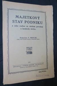 náhled knihy - Majetkový stav podniku a jeho rozbor za účelem povolení a kontroly úvěru, včetně autogramu Mencáka