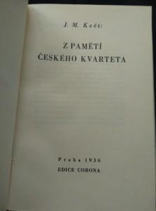 antikvární kniha Z pamětí českého kvarteta (Ocpl, 136 s, 8 foto, ob veváz.), 1936