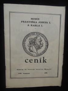 náhled knihy - Mince Františka Josefa I. a Karla I. : ceník (dodatek ke katalogu Jaroslava Moravce)