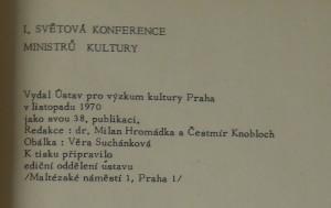 antikvární kniha I. světová konference ministrů kultury, 1970