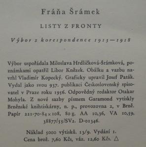 antikvární kniha Listy z fronty : výbor korespondence 1915-1918, 1956