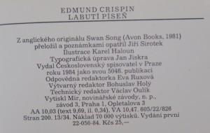antikvární kniha Labutí píseň, 1984