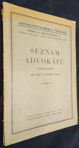 náhled knihy - Seznam advokátů podle stavu ku dni 1. dubna 1936