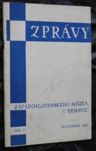 náhled knihy - Zprávy západoslovenského múzea v Trnave, č. 1. november