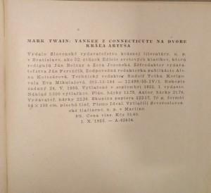 antikvární kniha Yankee z Connecticutu na dvore kráľa Artuša, 1955