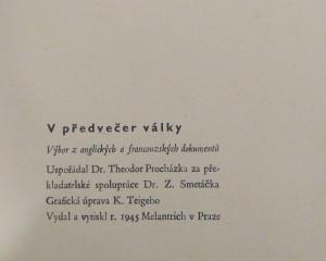 antikvární kniha V předvečer války, 1945